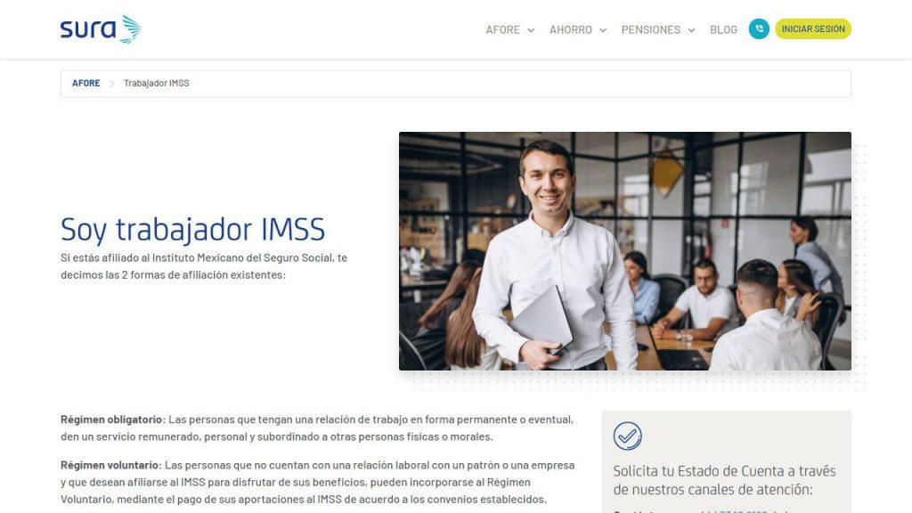 Captura de pantalla de Página de información de trabajadore IMSS